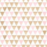 Безшовная геометрическая абстрактная предпосылка Золото и розовые треугольники Стоковая Фотография