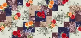 Безшовная геометрическая винтажная предпосылка с цветками иллюстрация вектора