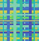 Безшовная геометрическая линейная картина. Бесконечная голубая и зеленая предпосылка Стоковое Фото
