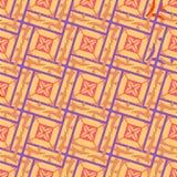 Безшовная геометрическая картина блокировать придает квадратную форму в беже с фиолетовым планом бесплатная иллюстрация
