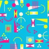 Безшовная геометрическая картина в ретро стиле 80s Иллюстрация вектора