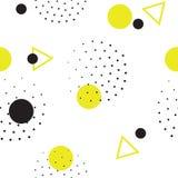 Безшовная геометрическая картина в ретро, стиль Мемфиса 80s Стоковые Фотографии RF