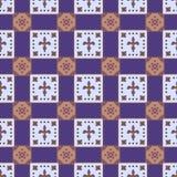 Безшовная геометрическая картина голубых и розовых квадратов на голубой предпосылке бесплатная иллюстрация