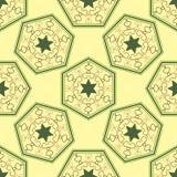 Безшовная геометрическая картина, зеленый шестиугольник с звездой на желтой предпосылке Стоковые Изображения RF