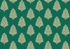 Безшовная геометрическая картина листьев с зеленой предпосылкой иллюстрация вектора