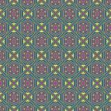 Безшовная геометрическая картина, розовый зеленый диамант с цветком Стоковые Изображения RF