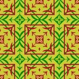 Безшовная геометрическая картина розовых и зеленых диамантов и квадратов на зеленой предпосылке бесплатная иллюстрация