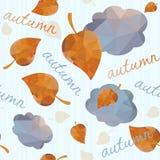 Безшовная геометрическая картина с листьями и облаками осени. иллюстрация штока