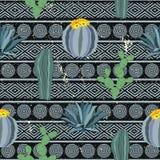 Безшовная геометрическая картина с кактусами Красочный мексиканский орнамент темы Стоковая Фотография RF