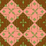 Безшовная геометрическая картина с квадратами и цветками иллюстрация вектора