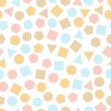 Безшовная геометрическая картина с пестроткаными квадратами, треугольниками, кругами, пентагонами, шестиугольниками и семиугольни Стоковые Фото