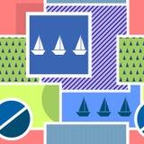 Безшовная геометрическая картина с силуэтом корабля, круга, квадрата, треугольника, нашивок и других элементов Стоковая Фотография