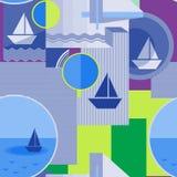 Безшовная геометрическая картина с силуэтом корабля, круга, квадрата, треугольника, нашивок и других элементов Стоковые Фото