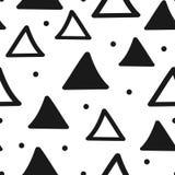 Безшовная геометрическая картина с треугольниками и круглыми точками Нарисовано вручную иллюстрация штока