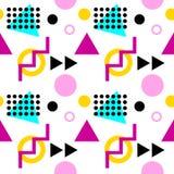 Безшовная геометрическая картина с треугольниками, точками, зигзагами и кругами иллюстрация штока