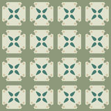 Безшовная геометрическая картина с цветками и квадратами Стоковые Изображения RF