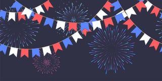Безшовная гирлянда с торжеством сигнализирует цепь, белизну, синь, красные вымпелы и салют на темных фейерверках предпосылки, сно иллюстрация штока