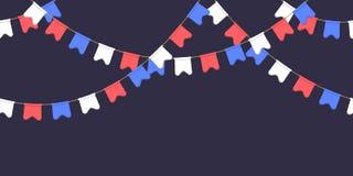 Безшовная гирлянда с торжеством сигнализирует цепь, белизну, синь, красные вымпелы на темной предпосылке, сноску и знамя для укра иллюстрация вектора