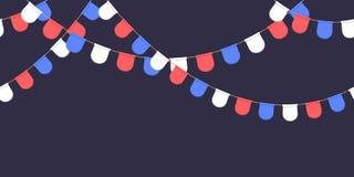 Безшовная гирлянда с торжеством сигнализирует цепь, белизну, синь, красные вымпелы на темной предпосылке, сноску и знамя для укра бесплатная иллюстрация