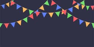 Безшовная гирлянда с торжеством сигнализирует цепь, красный цвет, синь, зеленый цвет, желтые вымпелы на темной предпосылке, сноск иллюстрация вектора