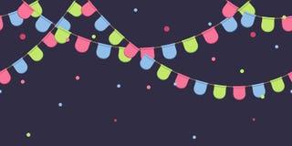 Безшовная гирлянда с торжеством сигнализирует цепь, пинк, синь, зеленые вымпелы с confetti на темной предпосылке, сноску и знамя  иллюстрация штока