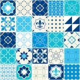 Безшовная голубая картина плитки вектора, плитки Azulejos, португальский геометрический и флористический дизайн - красочные иллюстрация вектора
