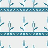 Безшовная голубая картина с пшеницей Стоковая Фотография RF
