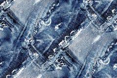 Безшовная голубая текстура джинсовой ткани Стоковые Изображения