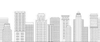Безшовная граница линии небоскребов черная белизна Стоковая Фотография