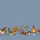 Безшовная граница различных грибов Стоковые Изображения