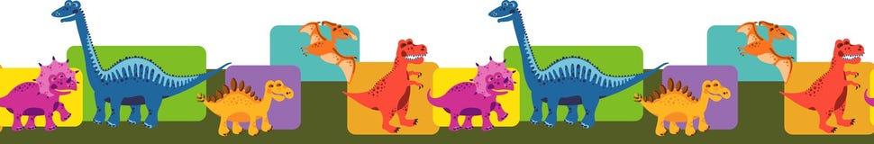 Безшовная граница с динозаврами Стоковые Изображения RF