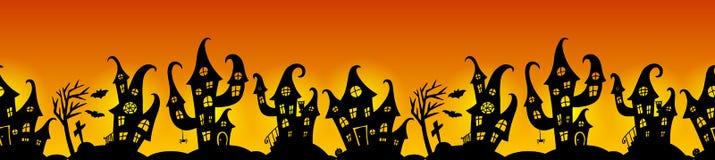 Безшовная граница для партии хеллоуина Стоковая Фотография