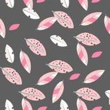 Безшовная декоративная текстура шаблона с листьями иллюстрация вектора
