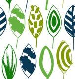 Безшовная декоративная зеленая картина при нарисованные чернила выходит Текстура вектора в стиле grunge Стоковые Изображения
