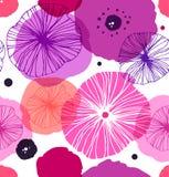Безшовная декоративная картина с маками Мак вектора стильный Подняла флористическая предпосылка Стоковая Фотография RF