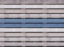 Безшовная деревянная текстура пола или мостоваой, деревянного паллета с голубой линией Стоковое Изображение RF