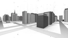 Безшовная закрепляя петлей анимация горизонта города 3d, дневное время иллюстрация штока