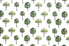 Безшовная зеленая предпосылка картины дерева стоковая фотография