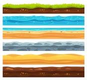 Безшовная земная поверхность Ландшафт земли зеленой травы, песочная пустыня и пляж с морской водой Вектор слоев земель иллюстрация вектора