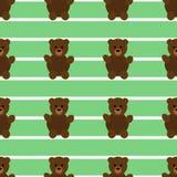 Безшовная зеленая картина плюшевого медвежонка Стоковая Фотография