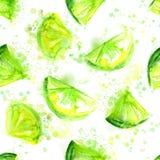 Безшовная зеленая предпосылка известки с брызгает и Иллюстрация вектора