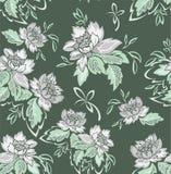 Безшовная зеленая предпосылка с серыми цветками Стоковые Изображения RF