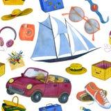 Безшовная иллюстрация акварели на теме перемещения бесплатная иллюстрация