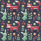 Безшовная лиса картины, кролик, заяц, цветки, животные, заводы, грибы, сердца бесплатная иллюстрация