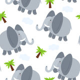 Безшовная иллюстрация вектора картины слона Стоковые Фото