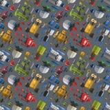Безшовная иллюстрация вектора шаржа картины робота Стоковые Изображения RF