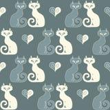 Безшовная иллюстрация пары котов и сердец Стоковые Фото