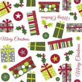 Безшовная иллюстрация подарка на рождество Стоковые Фотографии RF