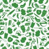 Безшовная иллюстрация с простыми значками на аксессуарах кухни темы и еде, зеленых силуэтах значков на светлой предпосылке бесплатная иллюстрация
