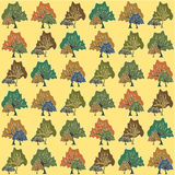 Безшовная картина абстрактных деревьев Стоковое Изображение RF